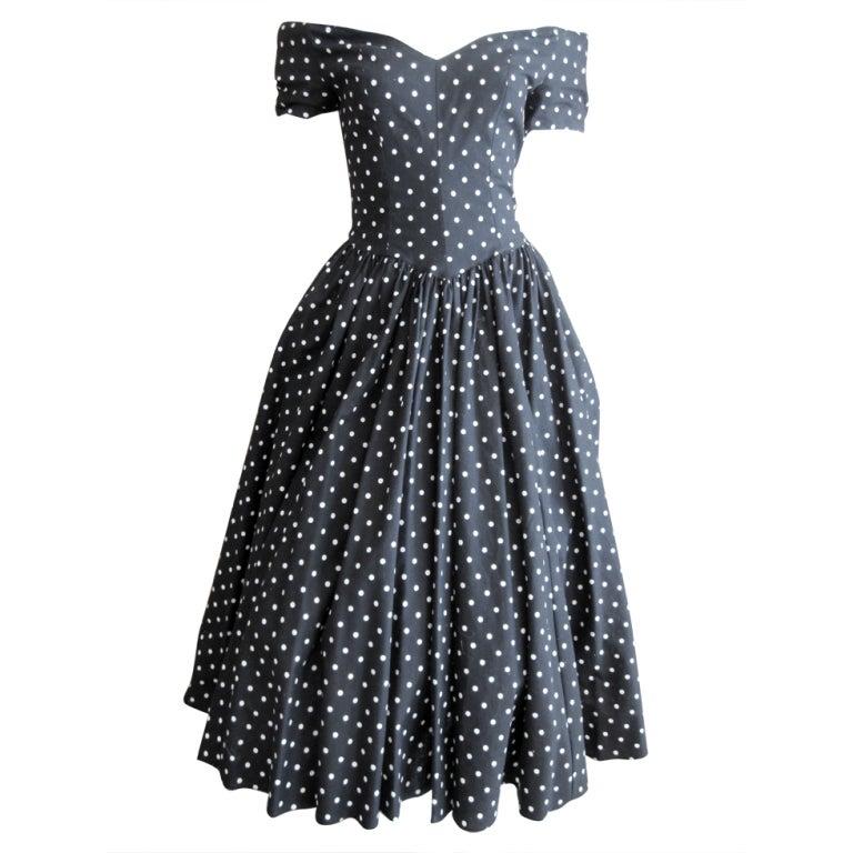 Jean Louis 1950's sweet polka dot dress I magnin 1
