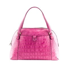 "Valextra large pink crocodile ""Punch"" handbag"