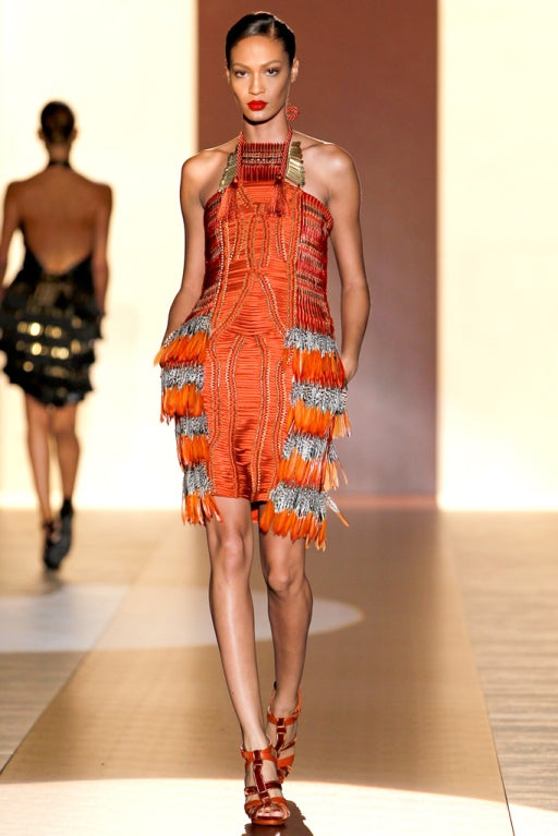 Gucci Orange Feather Runway dress Spring 2011 sz 42 NWT at ...