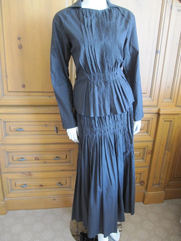 Women's Issey Miyake vintage black cotton suit For Sale