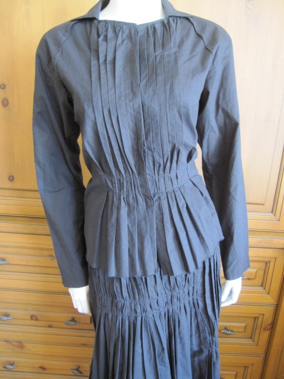 Issey Miyake vintage black cotton suit For Sale 1