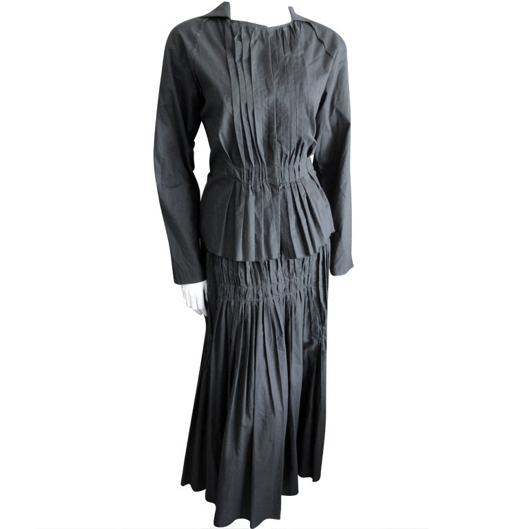 Issey Miyake vintage black cotton suit For Sale