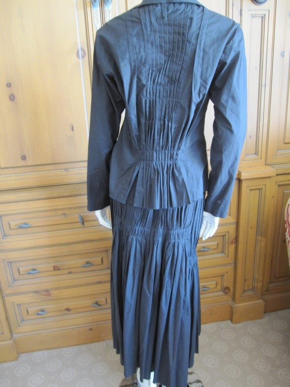Issey Miyake vintage black cotton suit For Sale 2