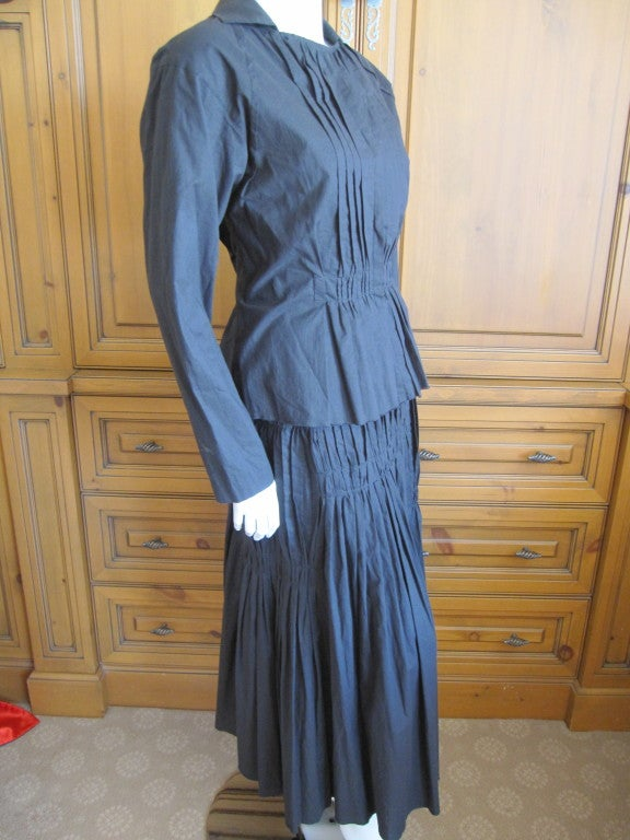 Issey Miyake vintage black cotton suit For Sale 3