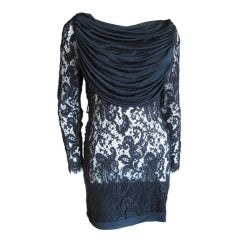 Gres sexy sheer black lace draped cocktail dress
