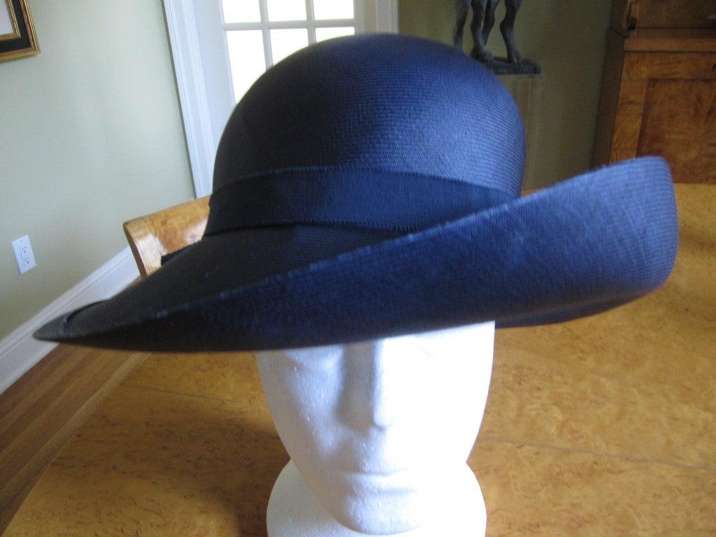 Chanel extra fine navy blue straw wide brim hat 2