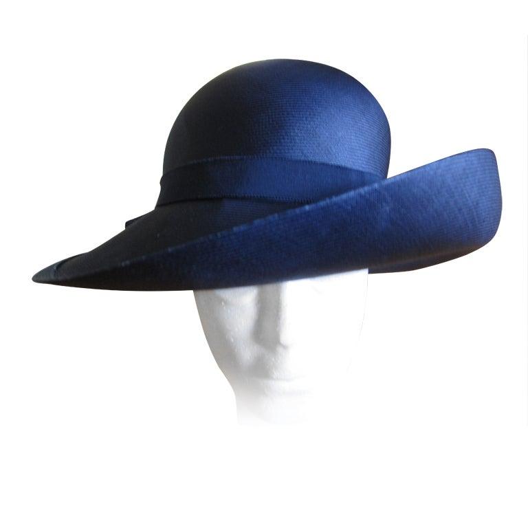 Chanel extra fine navy blue straw wide brim hat 1