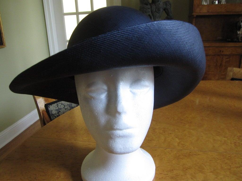 Chanel extra fine navy blue straw wide brim hat 3