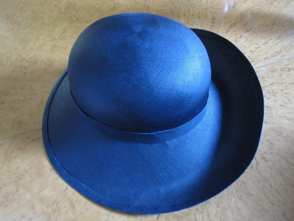 Chanel extra fine navy blue straw wide brim hat 5
