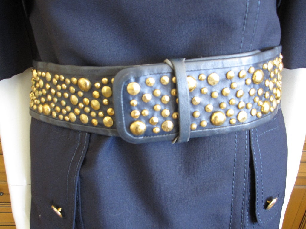 galanos wide navy blue leather studded belt at 1stdibs