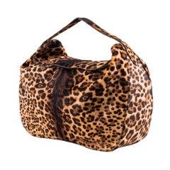 Azzedine Alaia large leopard print pony skin satchel bag