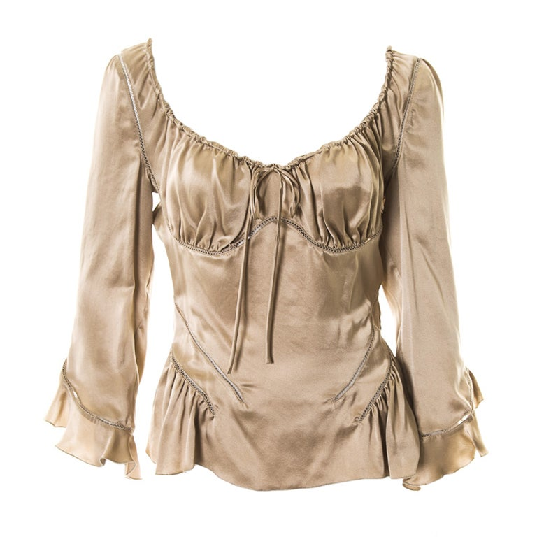 Alexander McQueen Milkmaid silk top Fall 2002