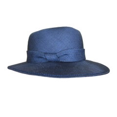 James Galanos navy blue straw wide brim hat