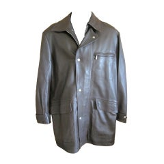 Hermes men's luxurious lambskin leather coat sz 46