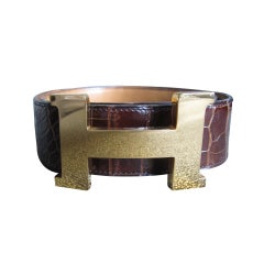 "Hermes XL mens  ""H"" Buckle with Alligator strap"