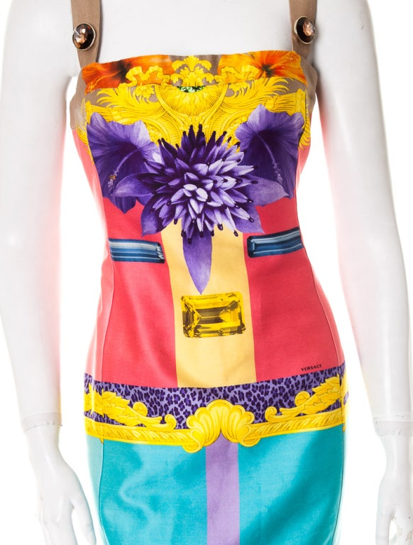 Versace digital print cotton dress with jewel straps 2