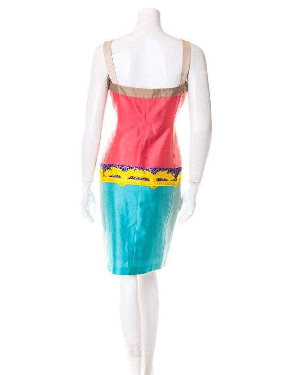 Versace digital print cotton dress with jewel straps 3