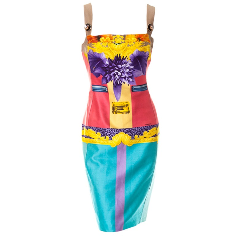 Versace digital print cotton dress with jewel straps 1