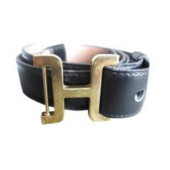 """Hermes vintage mens """"H"""" Buckle black leather strap 32""""-34"""""""