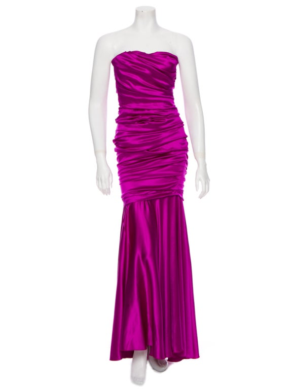 Dolce & Gabbana sexy shocking pink silk evening dress 2