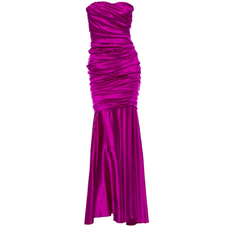 Dolce & Gabbana sexy shocking pink silk evening dress 1