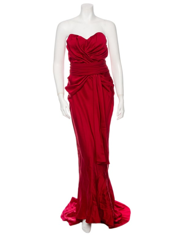 Christian Dior Ruby Red evening gown with train & wrap 2