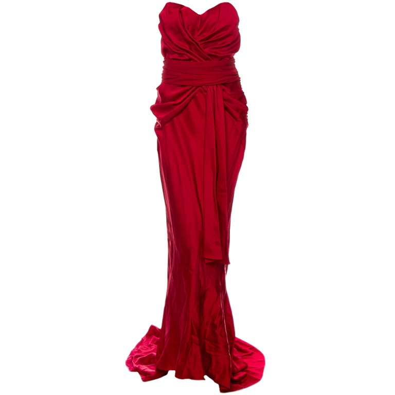 Christian Dior Ruby Red evening gown with train & wrap 1