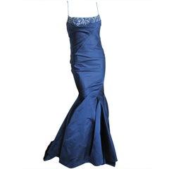 Pamala Roland Navy Blue silk beaded Mermaid gown