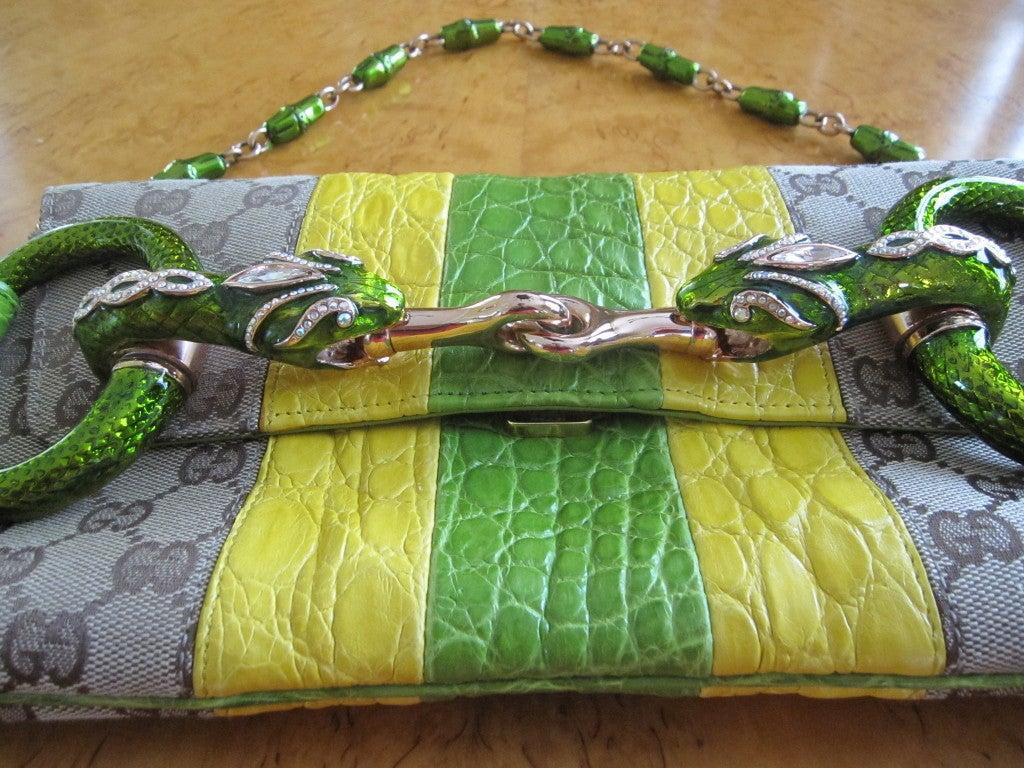 58 Bag Navy Tassel Zip Tote Black 47 Off: Gucci By Tom Ford Fall 2004 Alligator Trim Jewel Snake AD