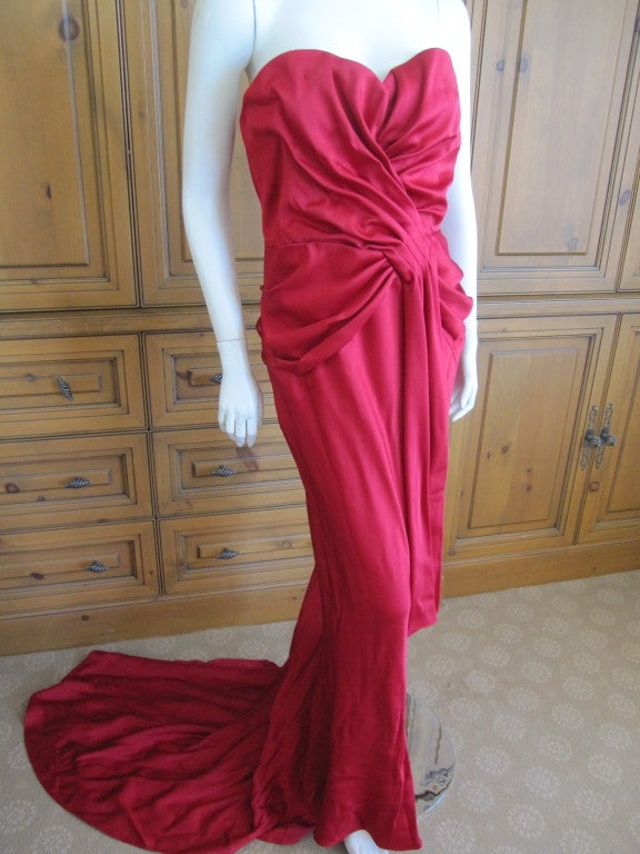 Christian Dior Ruby Red evening gown with train & wrap 3