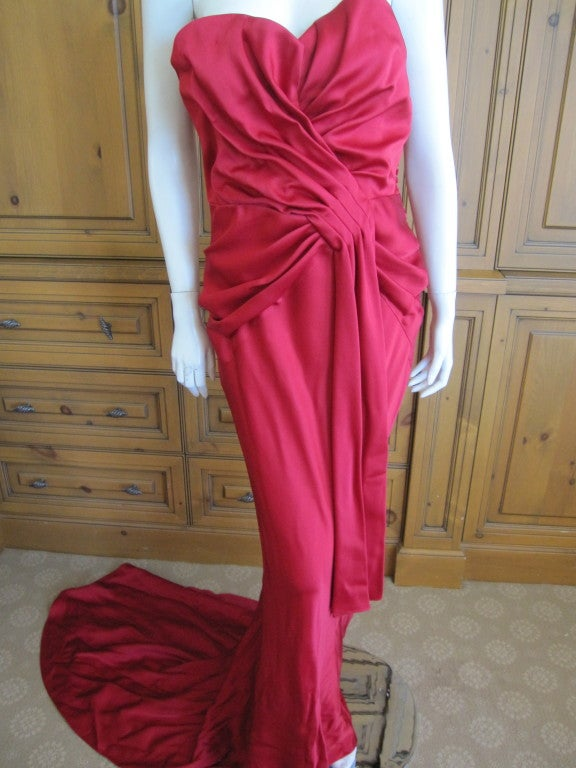 Christian Dior Ruby Red evening gown with train & wrap 4