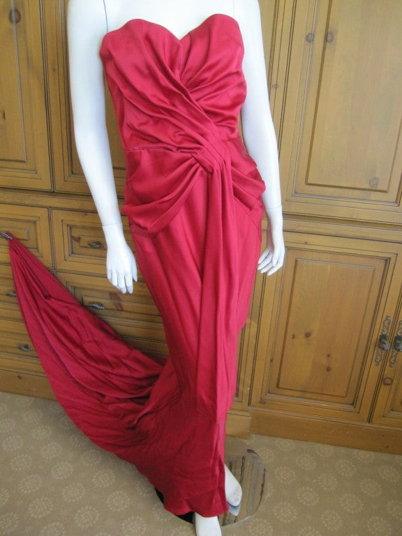Christian Dior Ruby Red evening gown with train & wrap 5