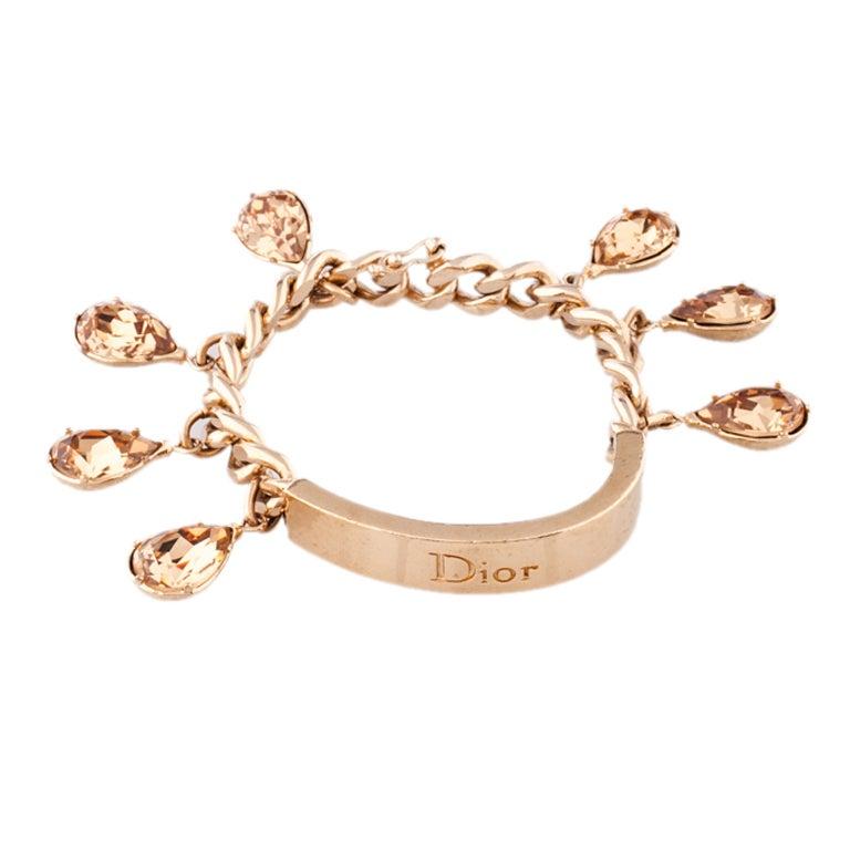 Christian Charm Bracelets: Christian Dior Gold ID Bracelet With Swarovski Topaz