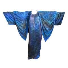Patricia Lester Ombre pleated beaded dress & Velvet cocoon coat