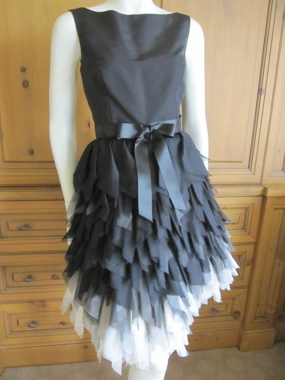 Oscar de la Renta ombre dress with feathered silk skirt   New 2