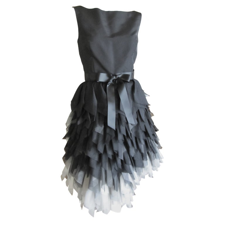 Oscar de la Renta ombre dress with feathered silk skirt   New 1