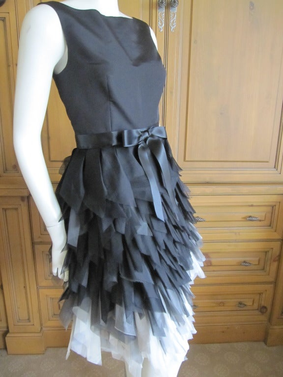 Oscar de la Renta ombre dress with feathered silk skirt   New 3