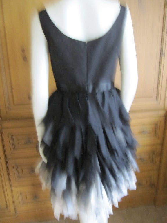 Oscar de la Renta ombre dress with feathered silk skirt   New 4