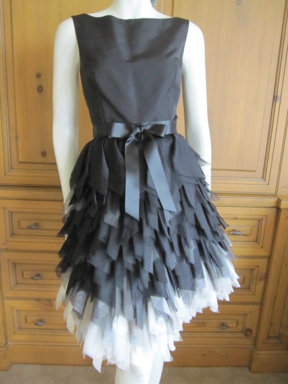 Oscar de la Renta ombre dress with feathered silk skirt   New 5