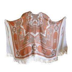 "Hermes ""Arabia"" cashmere/silk fringe poncho shawl blanket"