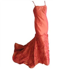 Pamela Roland orange silk dress with embellished train