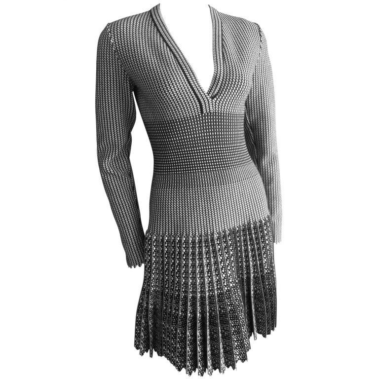 Azzedine Alaia  black and white skater skirt Salamandre dress New w Tags 1
