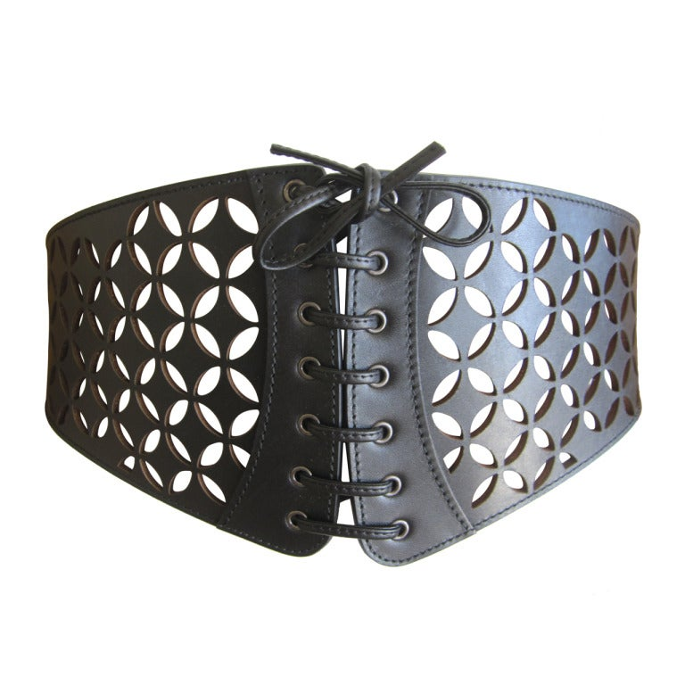 azzedine alaia wide black perforated leather corset belt