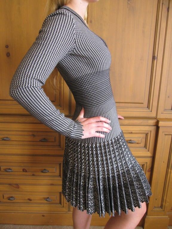 Azzedine Alaia  black and white skater skirt Salamandre dress New w Tags 6