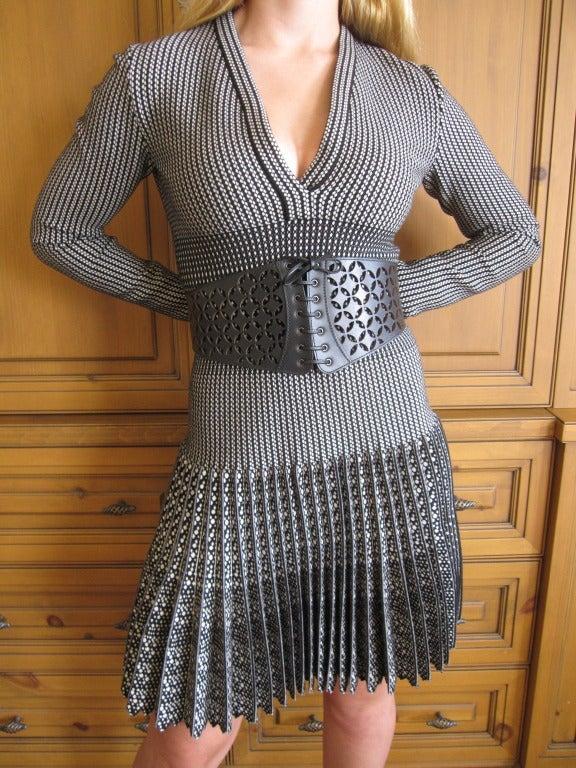 Azzedine Alaia  black and white skater skirt Salamandre dress New w Tags 8