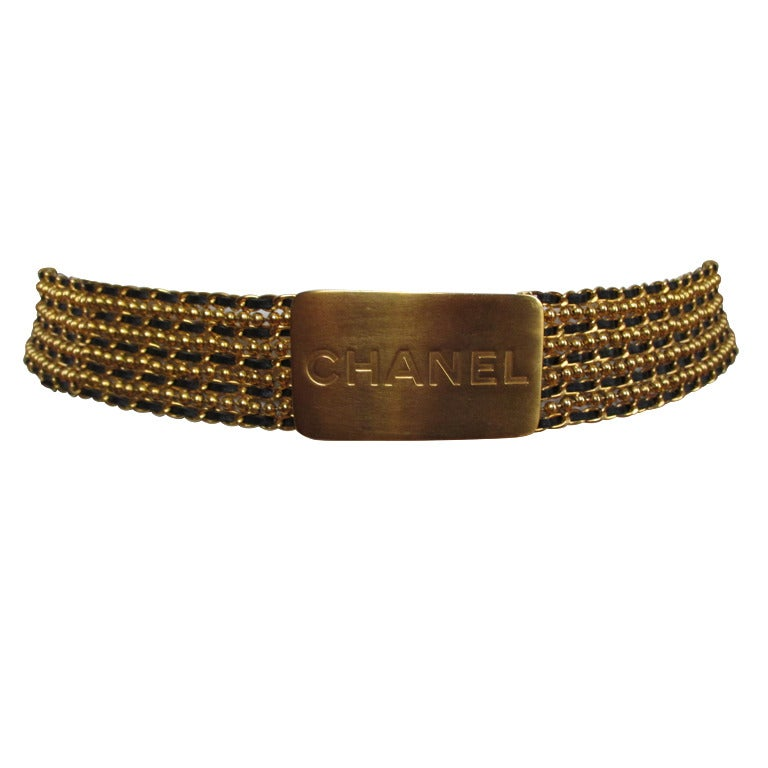 Chanel Ball chain with leather chain belt with Bold Chanel Buckle 1