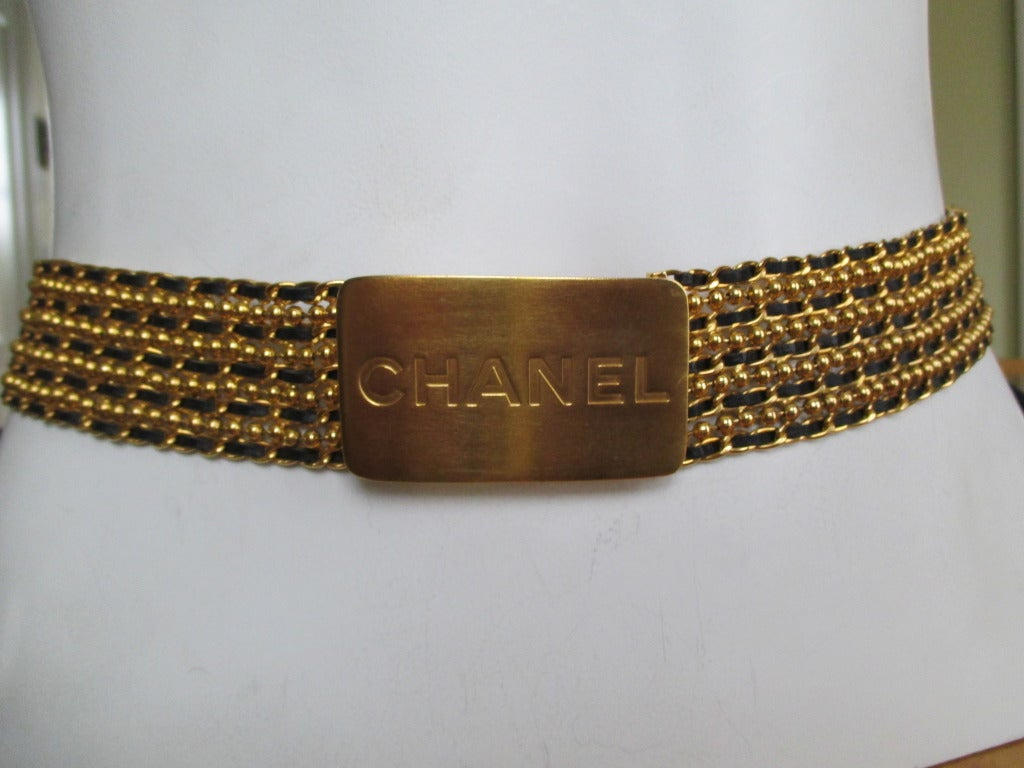 Chanel Ball chain with leather chain belt with Bold Chanel Buckle 2