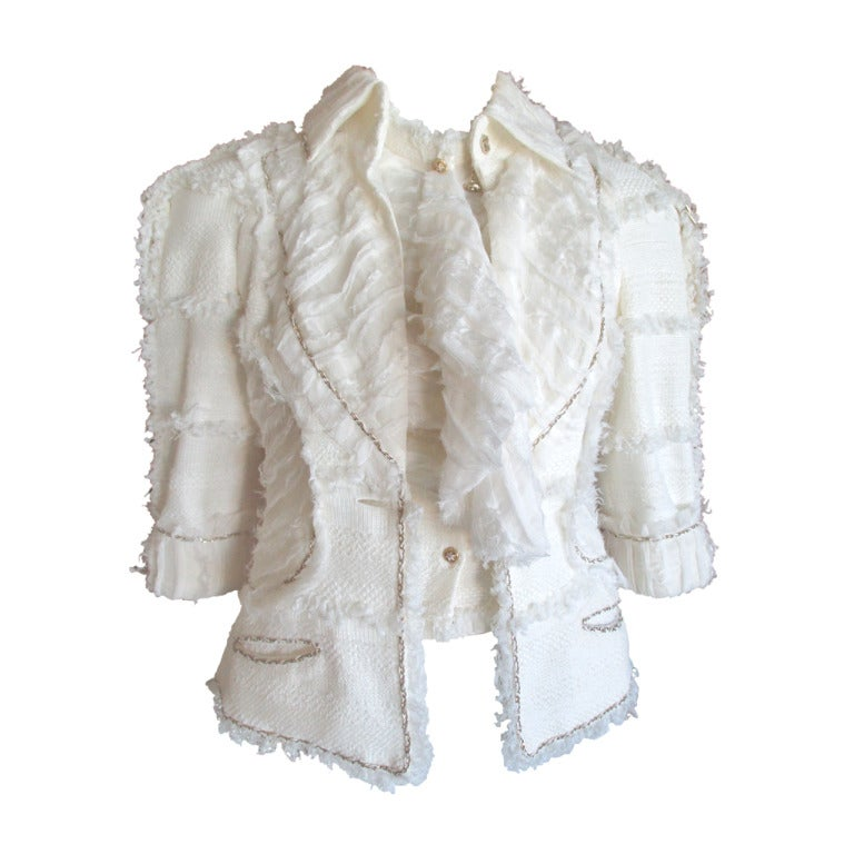 Chanel ivory elaborate embellished silk vest and jacket set For Sale