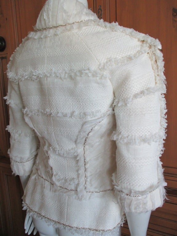 Chanel ivory elaborate embellished silk vest and jacket set 5