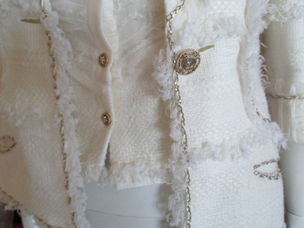 Chanel ivory elaborate embellished silk vest and jacket set 6
